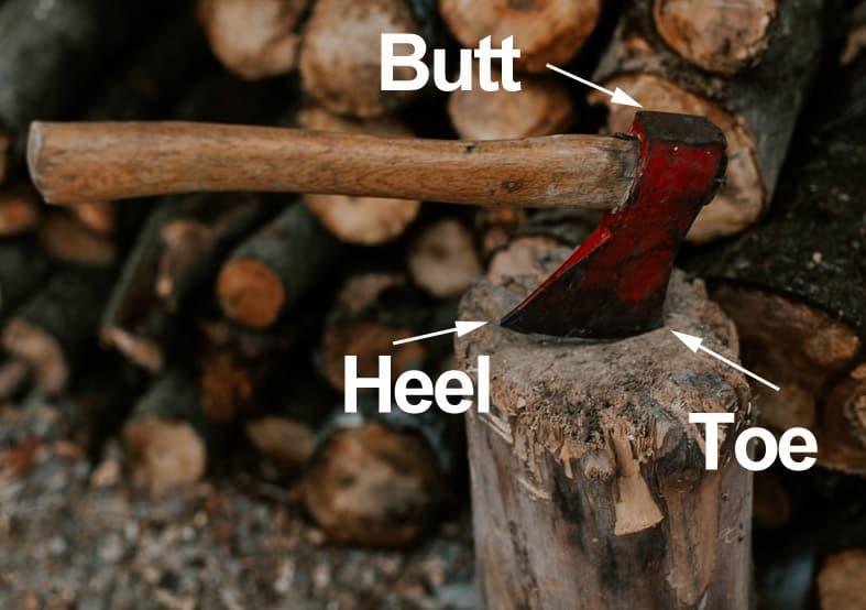 The parts of a hatchet